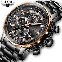 Lige 시계 남성 고급 크로노 그래프 스테인레스 스틸 대형 다이얼 쿼츠 남성 시계 캐주얼 스포츠 방수 시계 relogio masculino