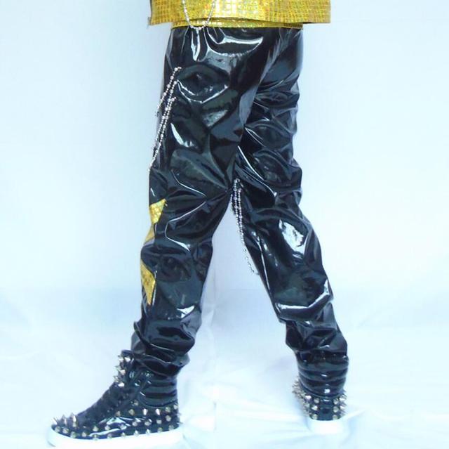 Envío libre Discotecas cantante masculino personalidad pantalones bares de rock DJ trajes de la etapa DS Hip-Hop de Los Hombres de cuero de gran tamaño pantalones
