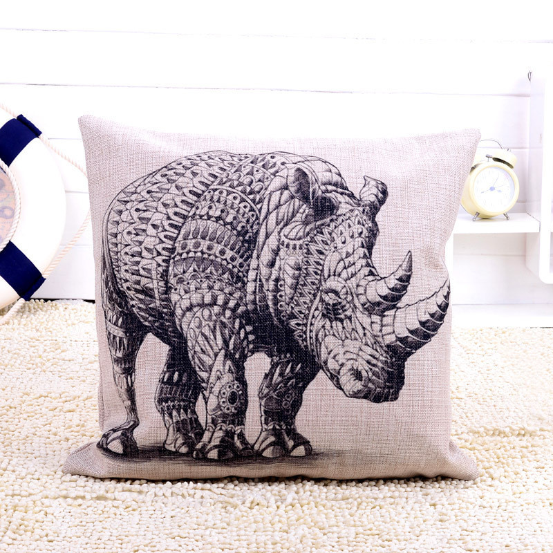 Linen cutton walking rhinoceros pillow cover case home decal pillow cover animal print vintage style fashion on sale