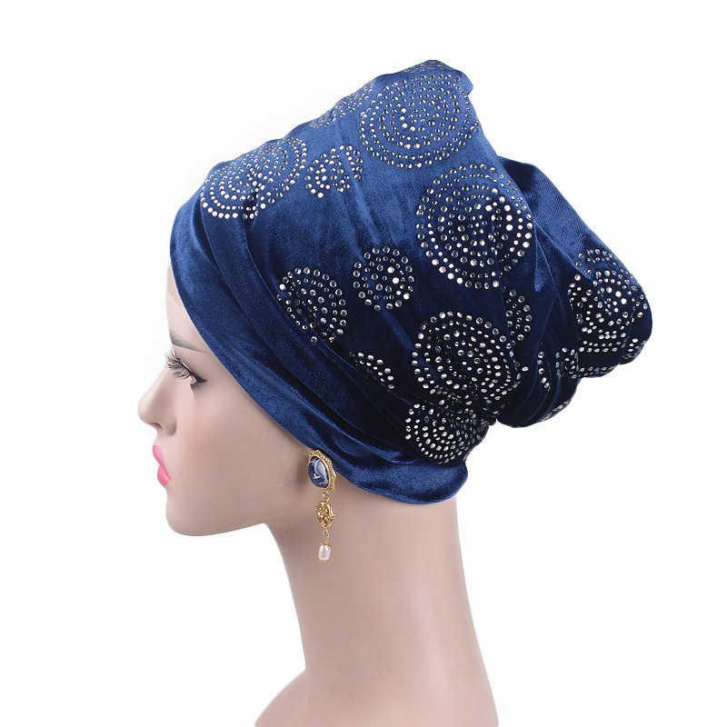 Kadın kadife islami türban afrika daire matkap tasarımı uzun kafa eşarp saç bandı kap saç aksesuarları