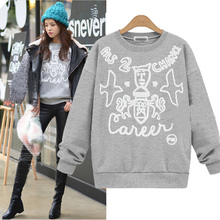 Plus Size S-XL Fashion High Quality Women Girl Hoody  Long Sleeved Sweatshirt Women Hedging weatshirts Grey White Black As1474
