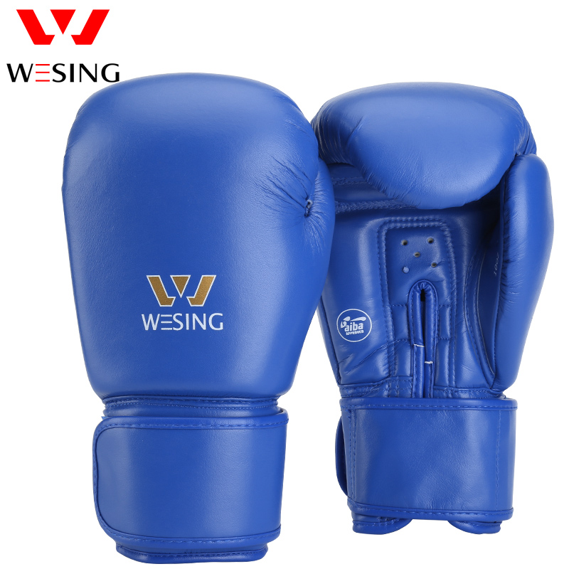 WESING AIBA Approved Boxing Gloves for Competition Blue Red Fighting Kickboxing Gloves guantes de boxe Large Size 1103 все цены