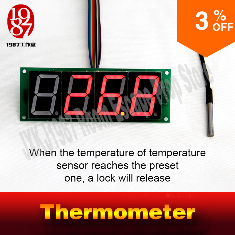 цена adventurer escape room game thermometer prop JXKJ1987 detect the preset temperature to release lock get away mysterious room