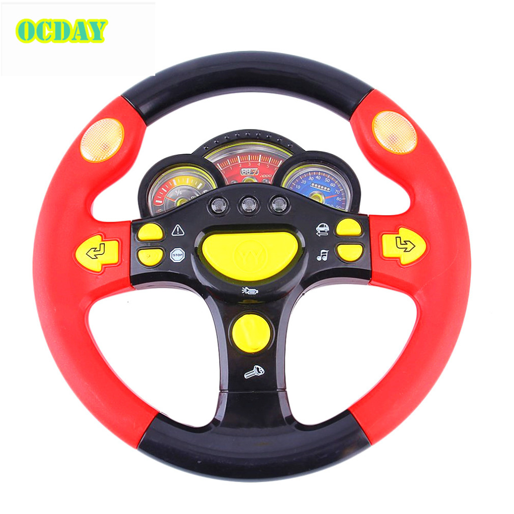 Children's Steering Wheel Toy Baby Childhood Educational Driving Simulation With Flashing Lights & Sound Effects simulation mini golf course display toy set with golf club ball flag