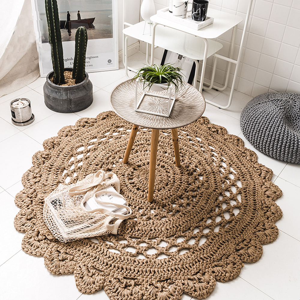 Hand Woven Reversible 100 Natural Jute Hollow Out Deaign Rug Durable Stain Resistant Round Area Rugs