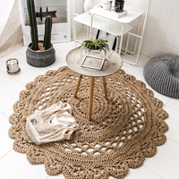 Hand Woven Reversible 100% Natural Jute Hollow Out Deaign Rug Durable, Stain Resistant Round Area Rugs for Livingroom/Bedroom