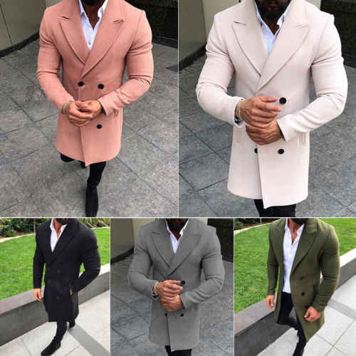 2019 модный Тренч мужской двубортный длинный Тренч пальто Зимняя Теплая Верхняя одежда Куртка Пальто Peacoat плюс Размер M-3XL
