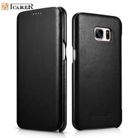 ICARER For Galaxy S 7 Edge Leather Cover Bag Genuine Leather Case With Magnetic Closure For