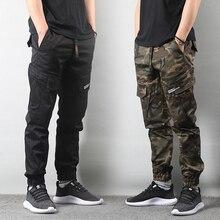 Японский стиль, модные эластичные мужские джинсы, с большим карманом, брюки-карго, камуфляжные военные штаны, хип-хоп штаны для бега, уличная одежда