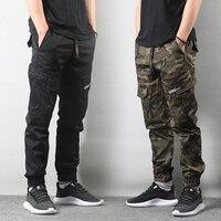 Japanese Style Fashion Jeans Men Elastic Waist Big Pocket Cargo Pants Camouflage Military Pants Hip Hop Joggers Pants Streetwear