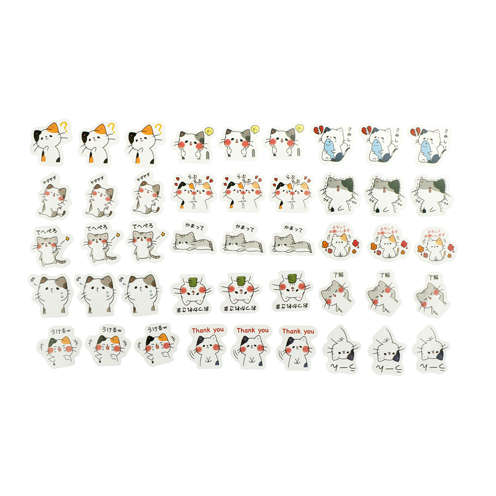 45pcs Cute Kawaii CatsDecoration Adhesive Stickers Diy Cartoon Diary Sticker Scrapbook Stationery Stickers 4.4*4.4*1.1cm