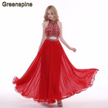 Greenspine Real Photo Sexy Red Mermaid Long Evening Dresses 2017 Hight-end Halter Backless Beaded Formal Party Dresses ED013(China)