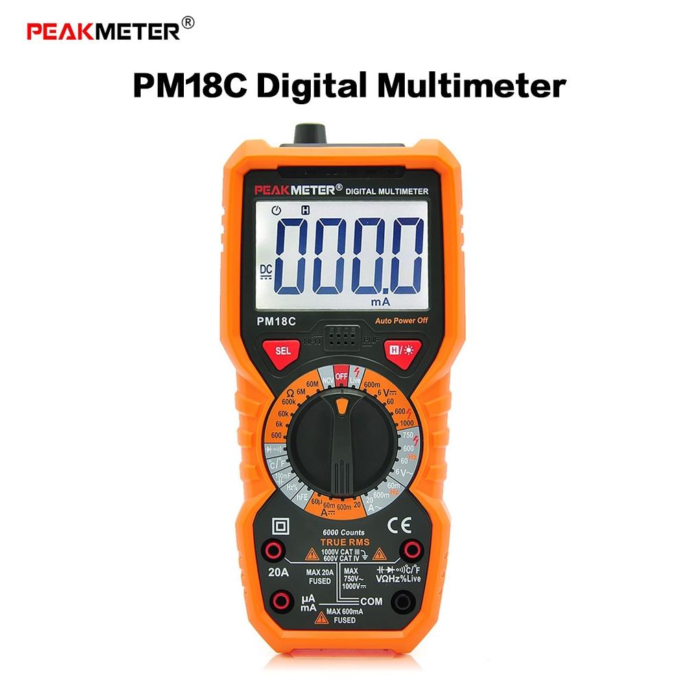 PEAKMETER PM18C Multimeter Digital Multimeters Current Temperature Frequency Meter Voltage Resistance Capacitance hFE NCV Tester