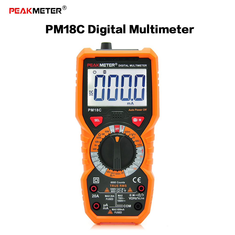 PEAKMETER PM18C Multimetro Multimetri Digitali Frequenza Temperatura Meter Tensione Corrente Resistenza Capacità hFE NCV Tester