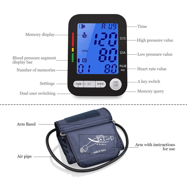 USB Charging Electronic Sphygmomanometer Pulse Measurement Tool Portable LCD Digital Upper Arm Blood Pressure Monitor Tonometer