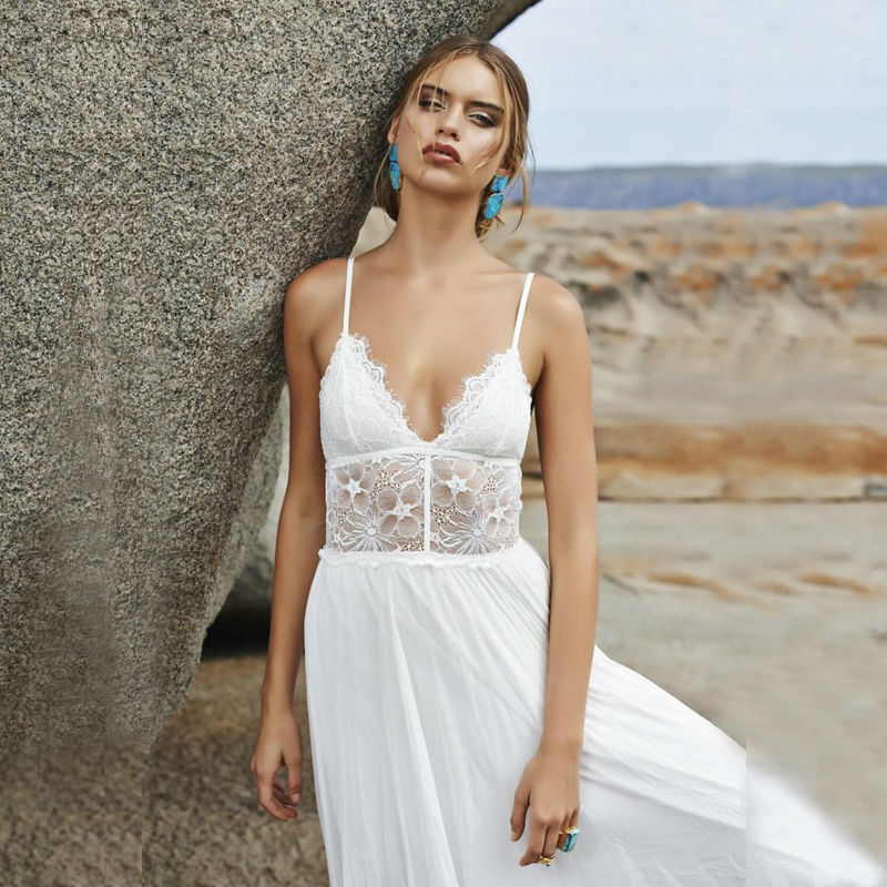 Stylish Beach Wedding Dresses : Bohemian style wedding dress v neck spaghetti straps beach