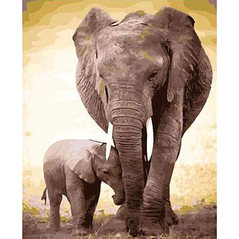 Frameless Elephant Diy Painting By Numbers Kits Acrylic