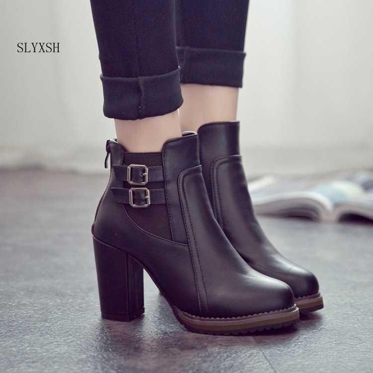 SLYXSH 2018 nuevas botas para mujer Otoño Invierno botas cortas para mujer Zapatos de tacón alto botas de tobillo para mujer zapatos negros para mujer