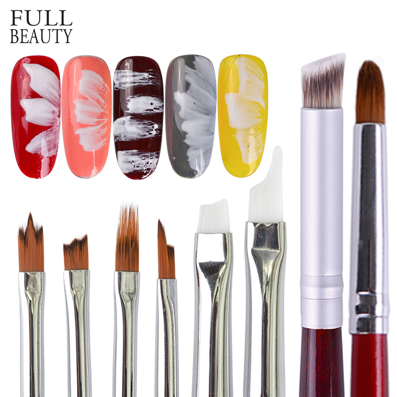Full Beauty 1pcs 8 Type Gradient UV Gel Nail Art Brush Polish Powder Drawing Painting Flower DIY Decor Manicure Pen CHH001-008