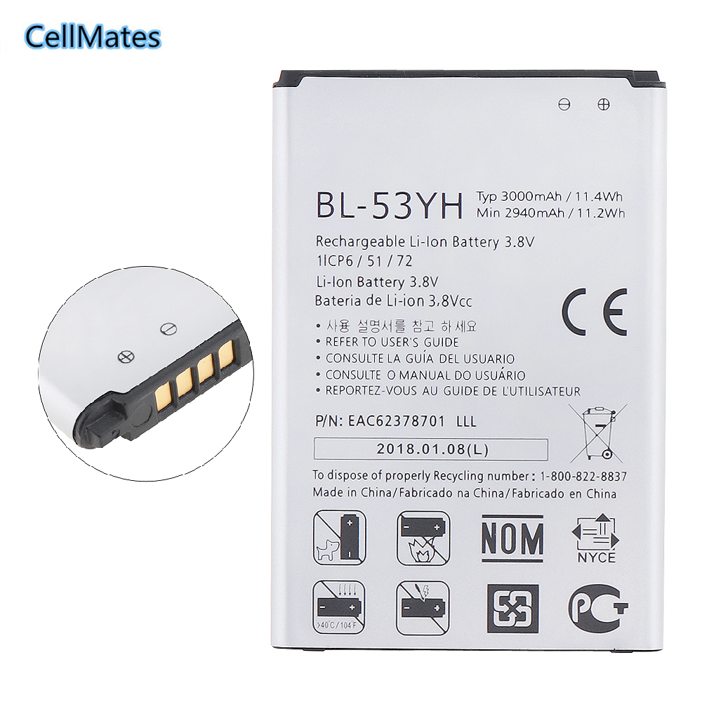 100% Original Replacement Battery For LG G3 F400 F460 D858 D830 VS985 BL-53YH BL53YH 3000mAh+ + Tracking Number