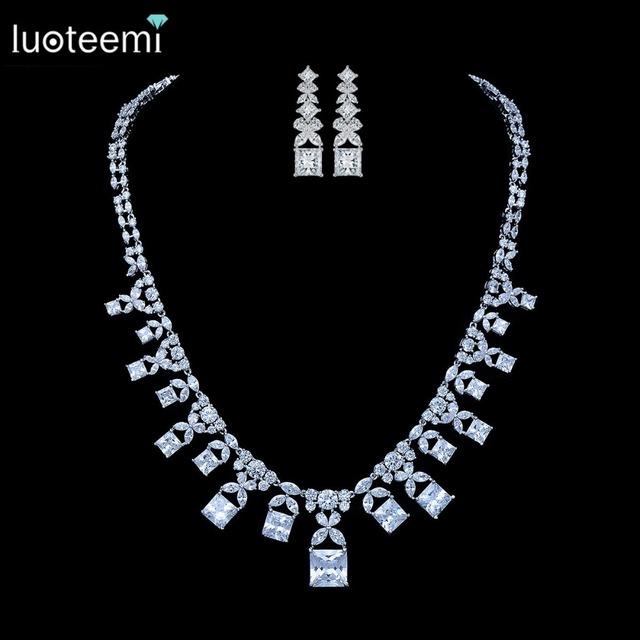 LUOTEEMI Nueva Joyería de Lujo Square Teardrop CZ Colgante de Cristal Collar de Moda para Las Mujeres Accesorios de La Boda Nupcial Gargantilla
