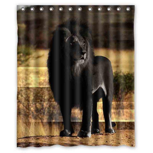 Sunset Black Lion Shower Curtains Custom Design Creative Curtain Bathroom Waterproof Polyester Fabric