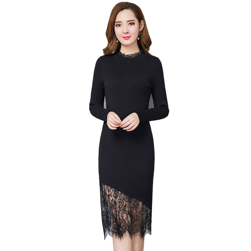 Warm and Charm Women Sweater Dress Spring and autumn Long Sexy Bodycon Dresses Elegant Knitted Lace Dress Bodycon Slim Vestidos