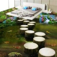 Creek Stone Pier Custom Waterproof Photo Wallpaper For Bathroom 3D PVC Wear Non Slip Wall Paper