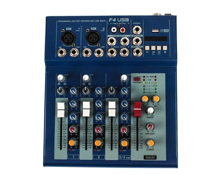 Mini mélangeur Audio Portable avec Console de mixage de son USB DJ prise MP3 amplificateur karaoké 48 V 4 canaux pour karaoké KTV Match Party