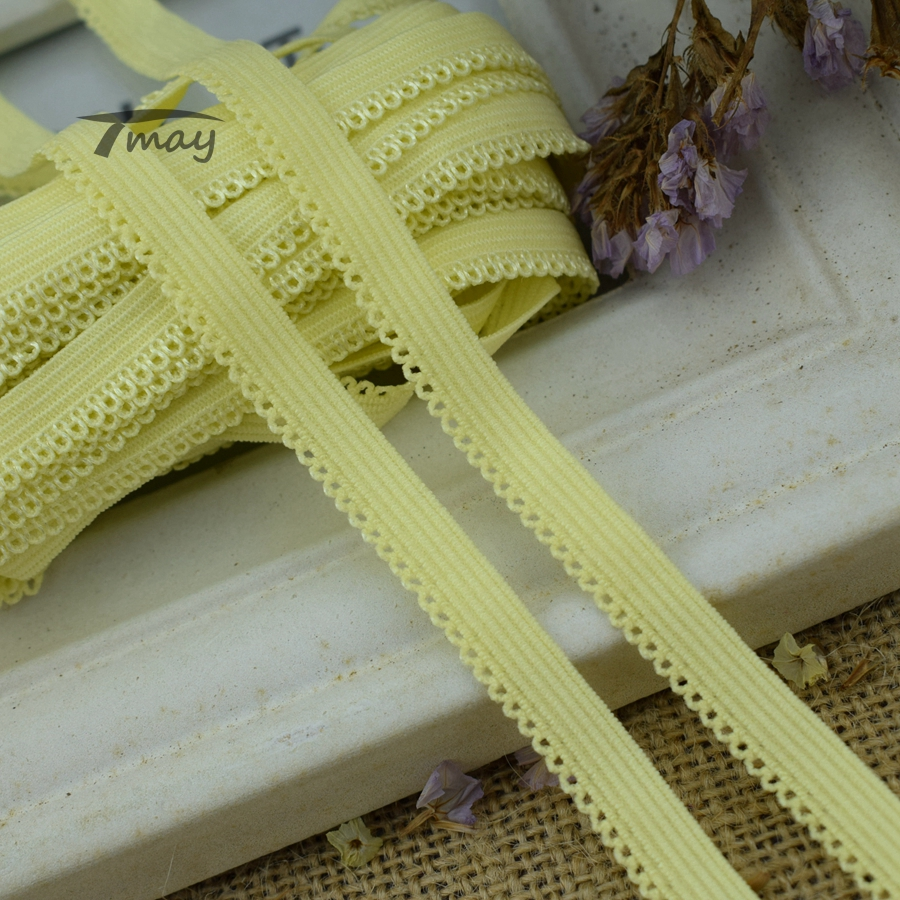 #<font><b>1342</b></font> Yellow Elastic Bnds Rubber Band Lace Trim 8yards/lot stretch lace Ribbon Sewing Trimmings Appliques underwear Pants Tape image