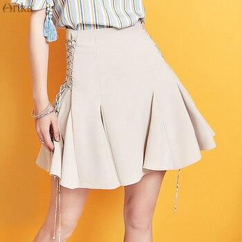 цена на ARTKA 2019 Summer Women Skirt Fashion High Waist Casual Skirt Adjustable Drawstring Skirt Pleated Short Skirt For Women QA15099X