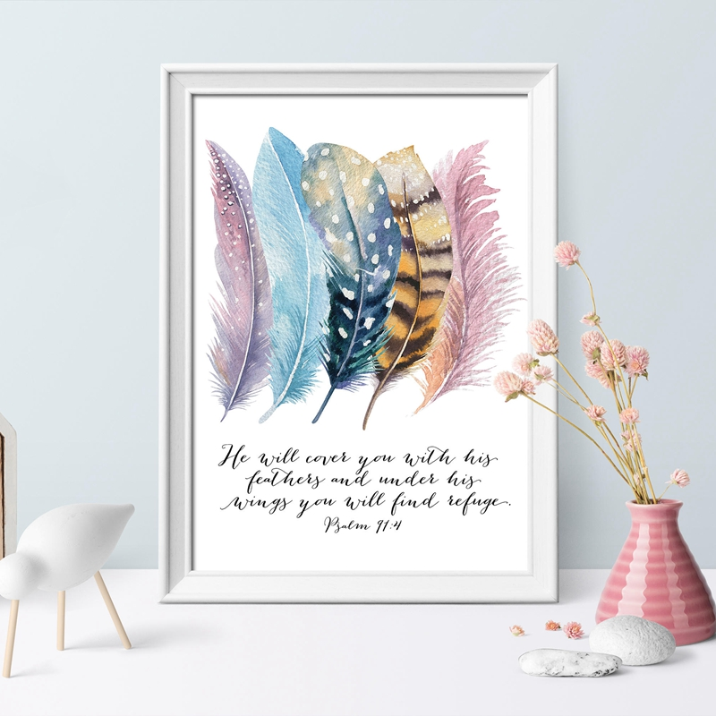 Bible-Verse-Psalm-91-4-Poster-Canvas-Art-Prints-Birds-Feathers-Scripture-Christian-Quotes-Canvas-Painting (1)