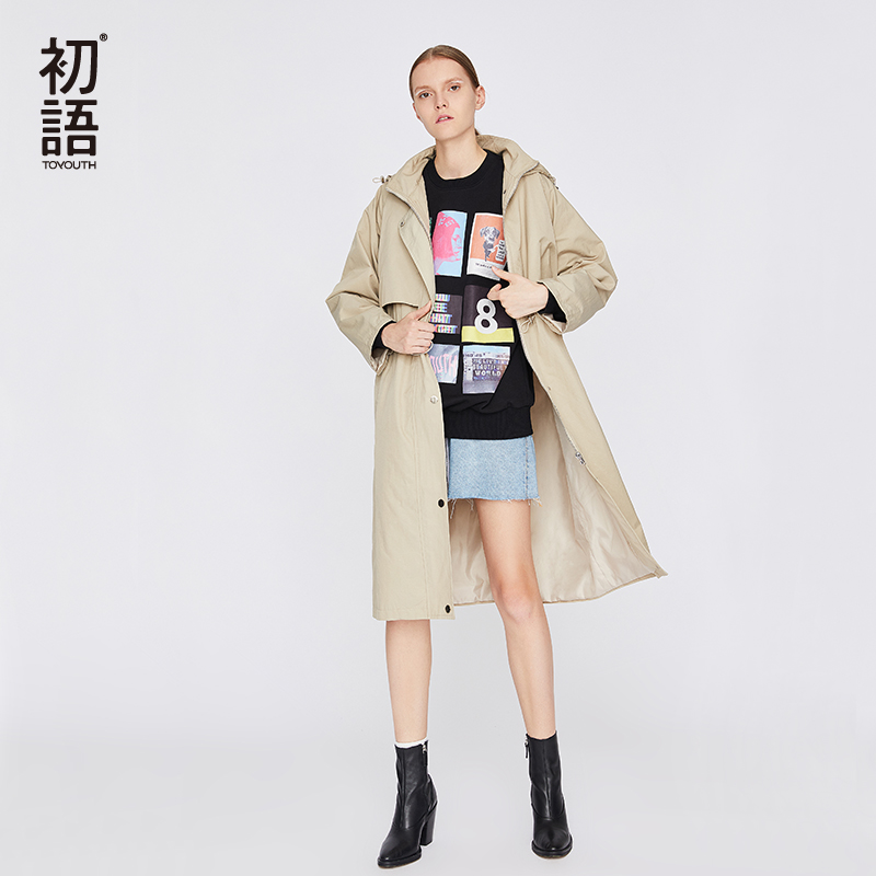Toyouth Women Long   Trench   Coats Oversized Loose Ladies Coat Long Sleeve Knee Length Overcoat Autumn Hooded Elegantes   Trench