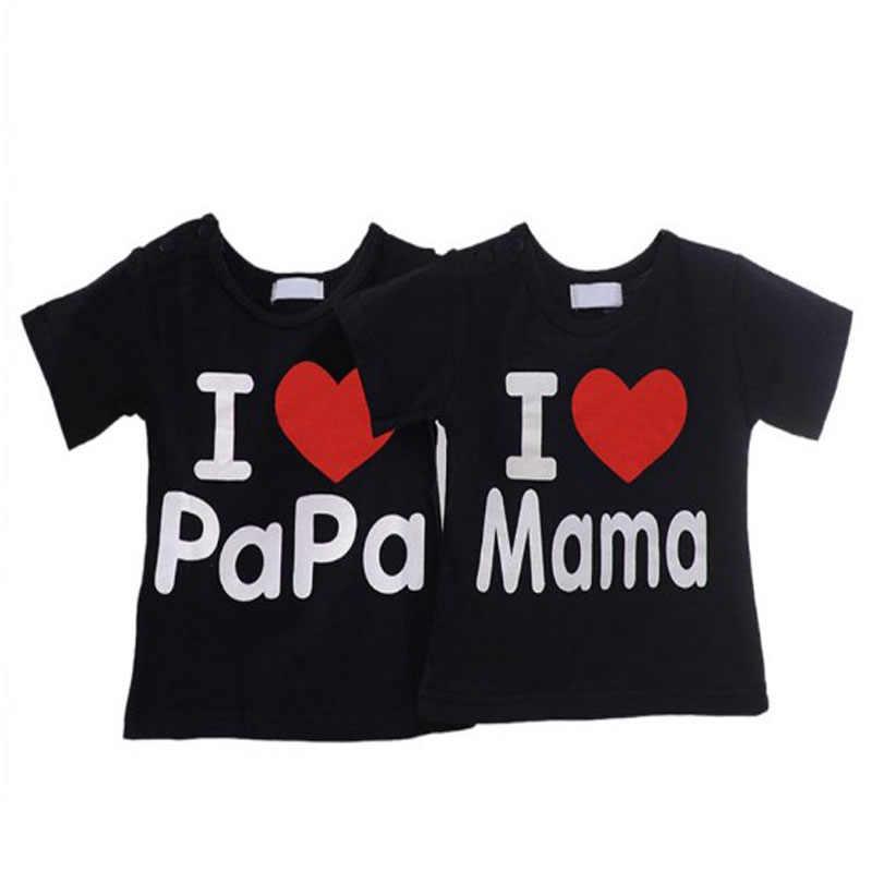 ZSIIBO תינוק בגדי בנות חולצת טי בני חולצה חולצה לילד אני אוהב את אמא אני אוהב אבא חולצת טי ילדים אבא חולצת טי עבור תינוק ילדה