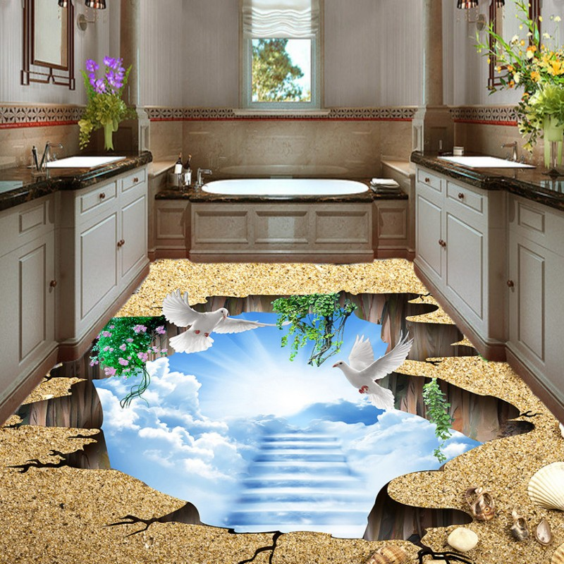 Free shipping custom living room bathroom home decoration wallpaper floor 3D cloud staircase wonders lobby flooring mural