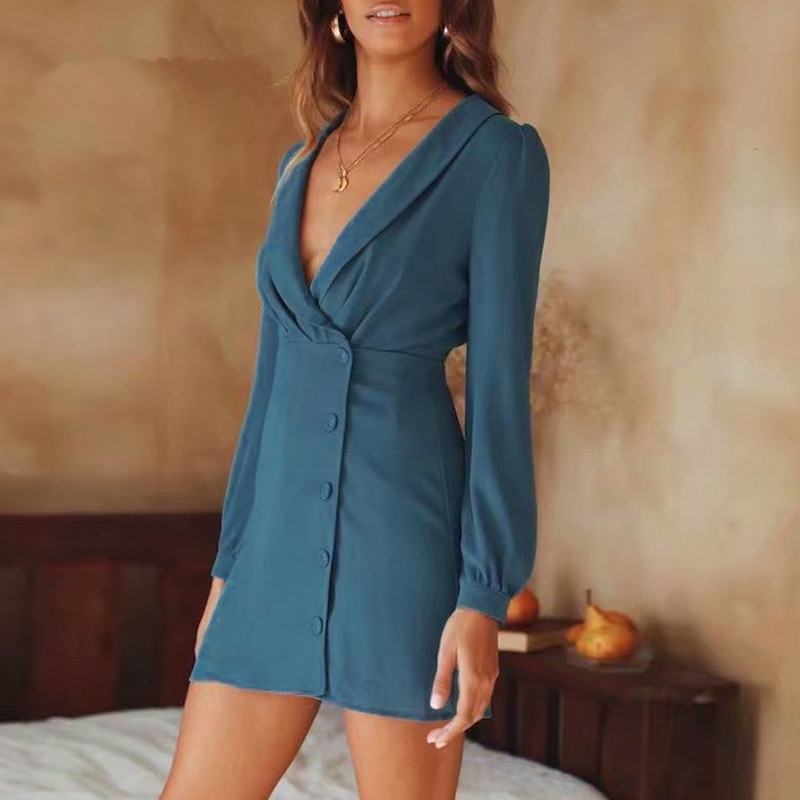 2019 Fall Vintage Elegant Long Sleeve <font><b>Blue</b></font> Color <font><b>Bodycon</b></font> <font><b>Dress</b></font> <font><b>Sexy</b></font> V-Neck Chiffon Breasted Mini <font><b>Dress</b></font> image