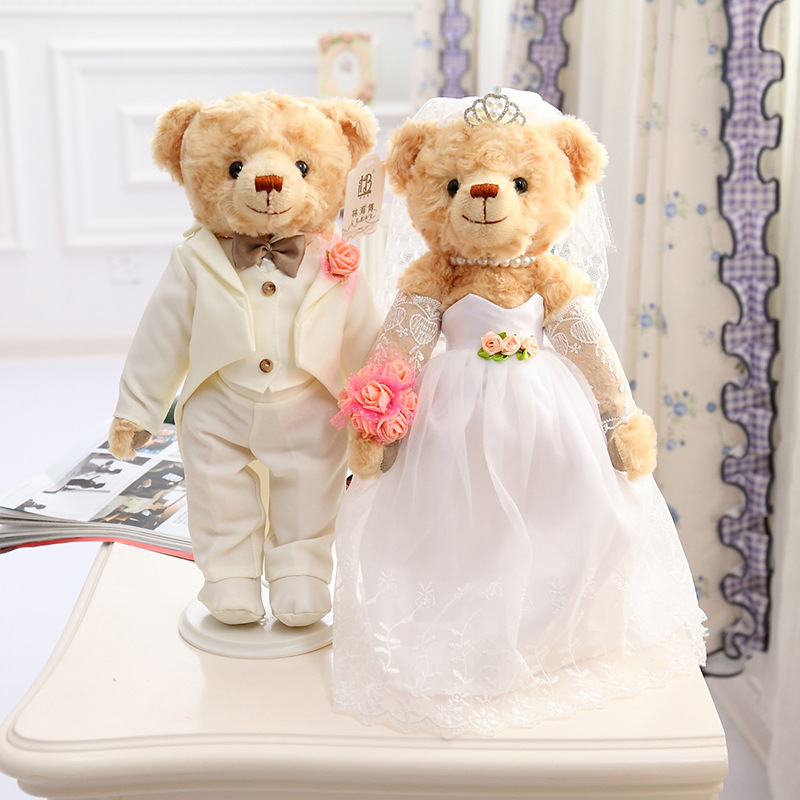 36CM High Quality Genuine Teddy Bear Plush Toy Doll Wedding Dress Couple Wedding Gift  Birthday Wedding Valentine Gift 1pc 12cm kawaii lover couple valentine s day gift novelty mascot doll toy plush papa bear panda pendant for mobile phone charm