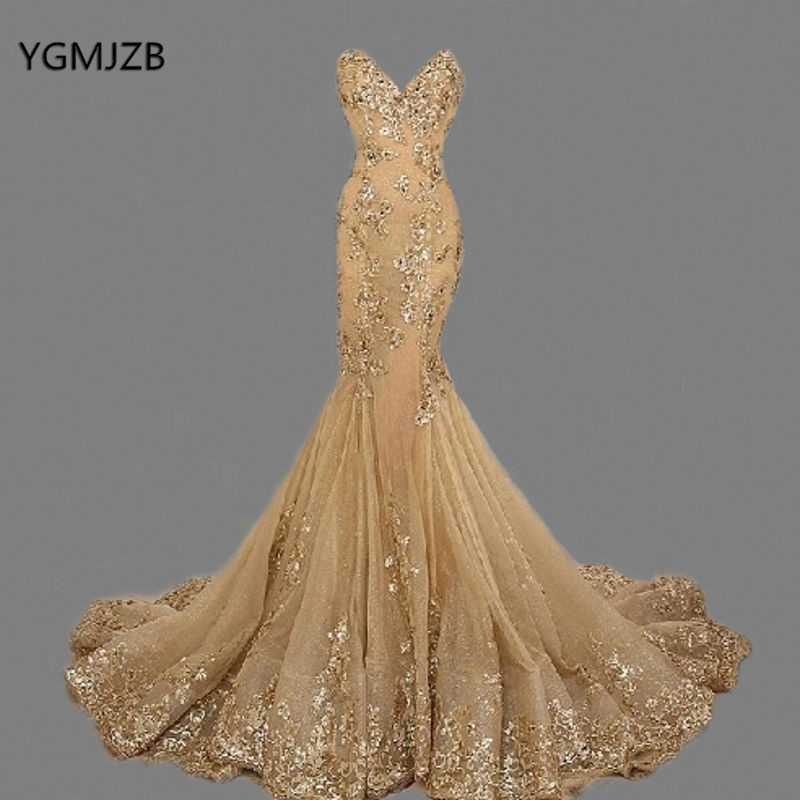 Elegant Long   Evening     Dress   2018 Mermaid Sweetheart Beaded Crystal Lace Floor Length Gold Arabic Women Formal Prom   Evening   Gowns