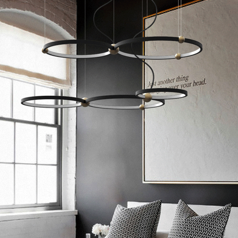 Nordic Dining room Pendant lights Modern simple Metal Round Ring Combo Art Creative Black Foyer Droplight Led Lighting fixture in Pendant Lights from Lights Lighting