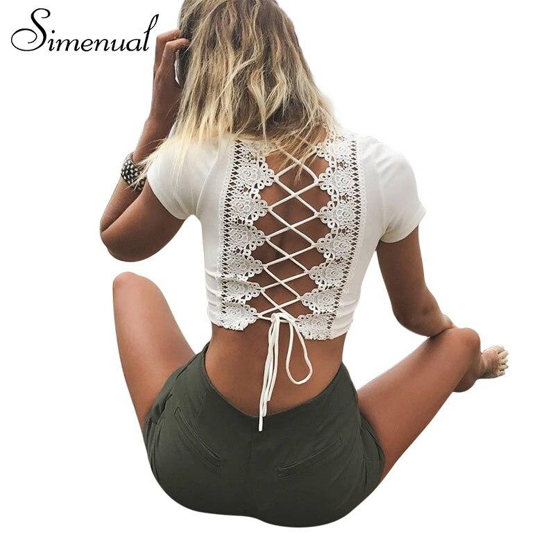 Simenual Lace up voltar sexy t-shirts para as mulheres cruzam moda t camisa safra de verão top oco out hot feminino t-shirt tops tees