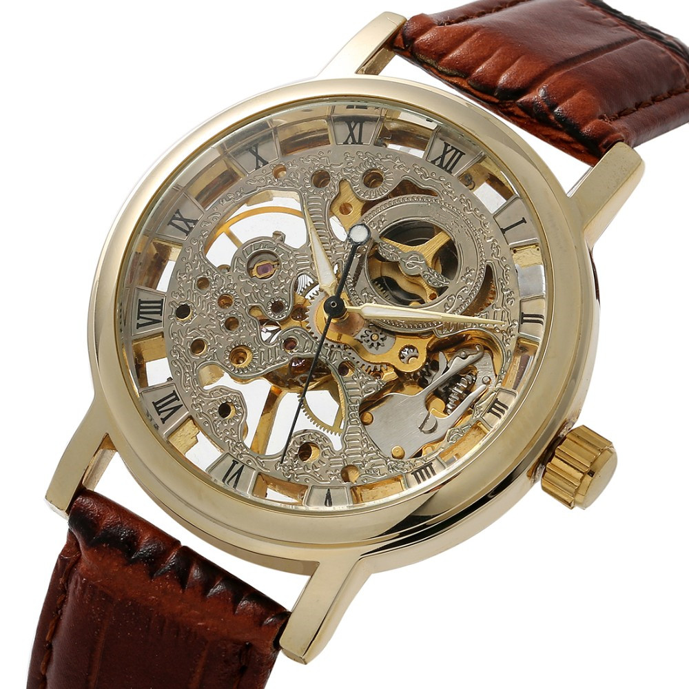 Luxury Brand Men Skeleton Watches Stainless Steel Mechanical Skeleton Leather Strap Self-Wind Watch Military Watches mce automatic watches luxury brand mens stainless steel self wind skeleton mechanical watch fashion casual wrist watches for men