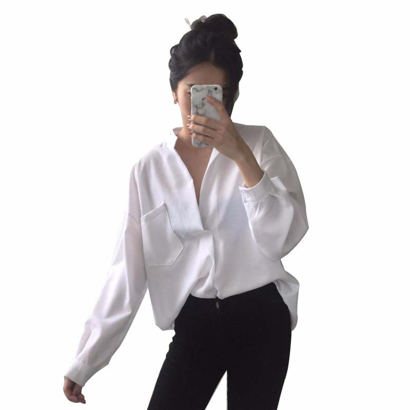 Office Lady Temperament  V-Neck Loose Long Sleeve Shirt Female Solid Chiffon Womens Tops And Blouses Wild Blouse