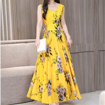 7755b2990ce4 Новые модные Boho желтый шифон пляжное платье для женщин Лето 2019 г. ретро  цветочный принт майка с треугольным вырезом плиссированные платья, п.