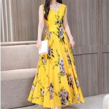 2d90741b9 Nueva moda Boho amarillo gasa playa vestido de mujer de verano de 2019 Retro  flores del tanque con cuello en V plisado Vestidos