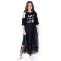 Girls Summer Clothing Set Girls Skirt Suit Print Letters Shorts T Shirt + Transparent Yarn Skirt Young Girls Summer Skirt Suit