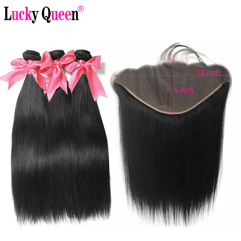Lucky Queen Brazilian Straight Hair Bundles With Frontal Remy Human Hair Extention With 13x6 Frontal Pre