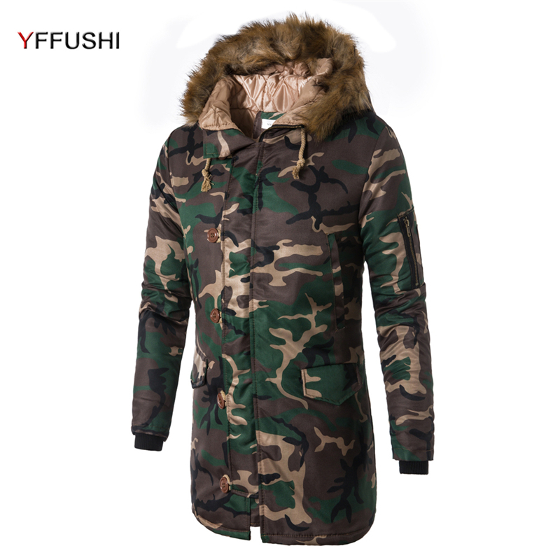 YFFUSHI 2017 New Arrival Winter Jacket Men Camouflage Long Parka Jackets Men With Furry Hat Winter Coat Fashion Casual Style