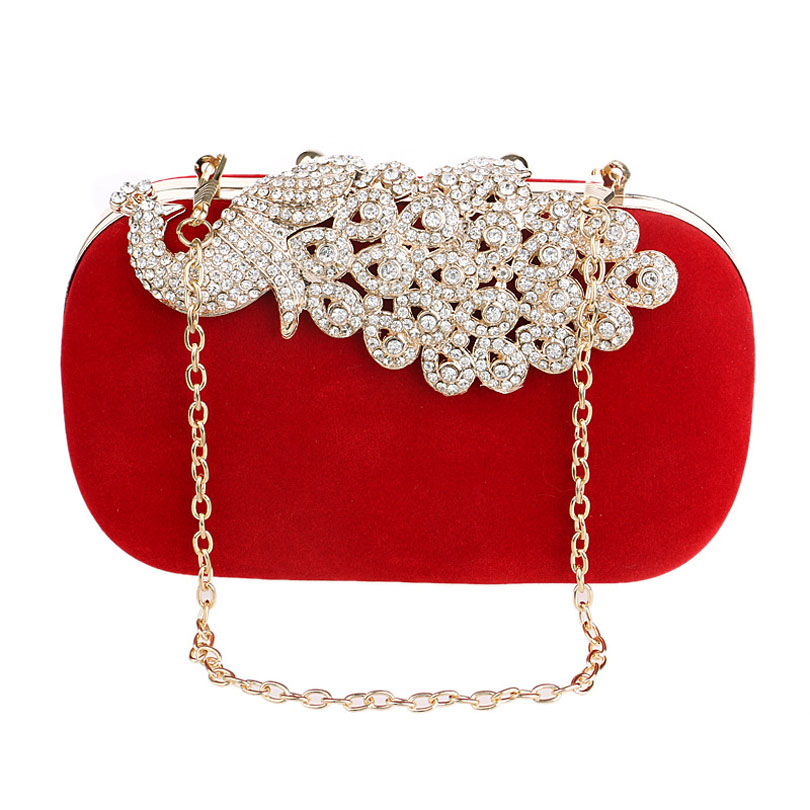 Purse Female Crossbody-Bag Peacock Wedding-Bag Day-Clutch Diamonds Party Women Ladies