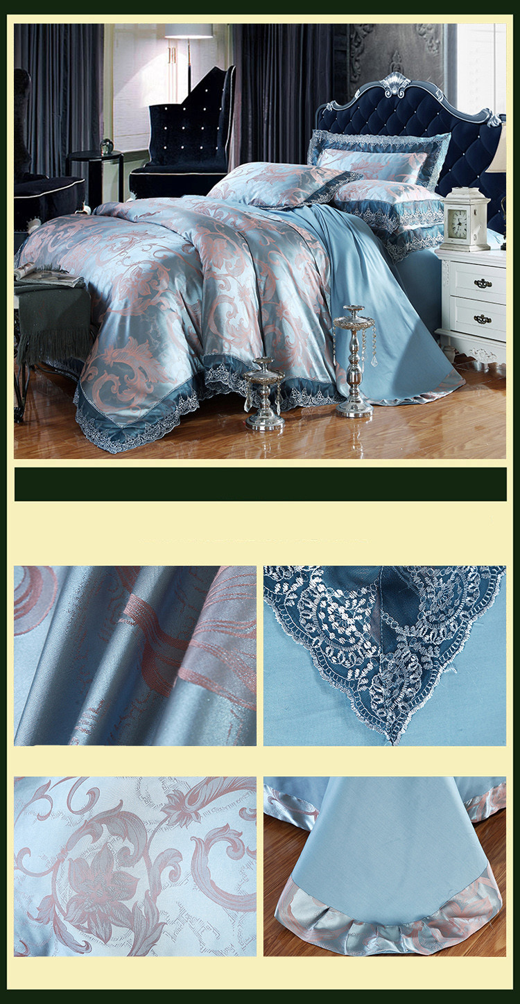 New Luxury Embroidery Tinsel Satin Silk Jacquard Bedding Set, Queen, King Size, 4pcs/6pcs 32