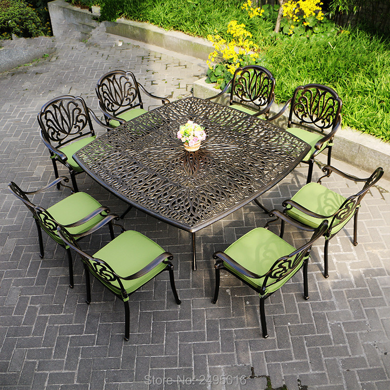9 Piece Cast Aluminum Patio Furniture